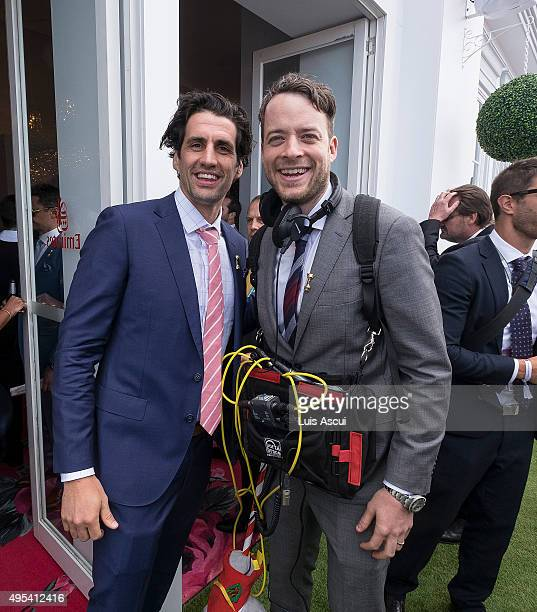 Hamish and Andy pose at the Emirates Marquee on Melbourne Cup Day at Flemington Racecourse on November 3 2015 in Melbourne Australia