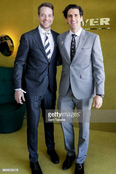 Hamish and Andy pose at the Myer Marquee on Derby Day at Flemington Racecourse on November 4 2017 in Melbourne Australia