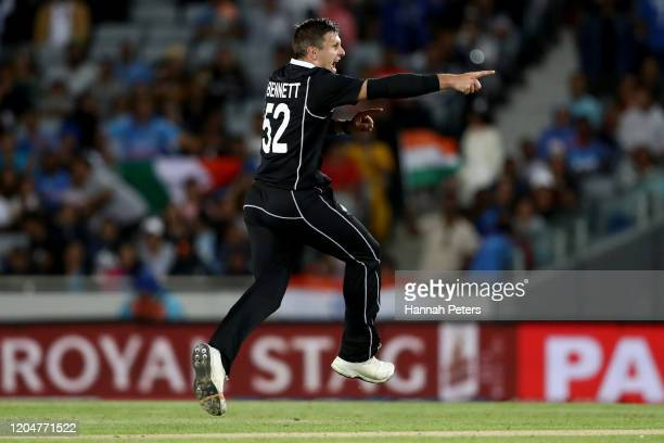 Hamish Bennett of the Black Caps celebrates the wicket of Shreyas Iyer of India during game two of the One Day International Series between New...