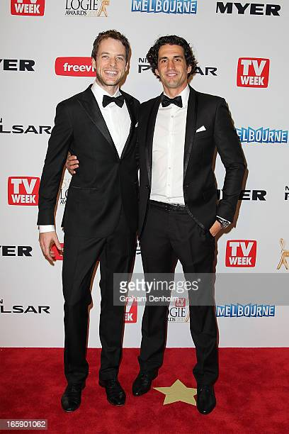 Hamish Blake and Andy Lee arrive at the 2013 Logie Awards at the Crown on April 7 2013 in Melbourne Australia