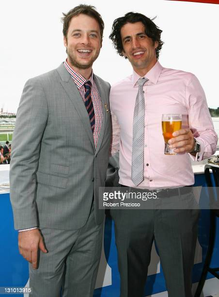 Hamish Blake and Andy Lee attend the Emirates marquee during Melbourne Cup Day at Flemington Racecourse on November 1 2011 in Melbourne Australia