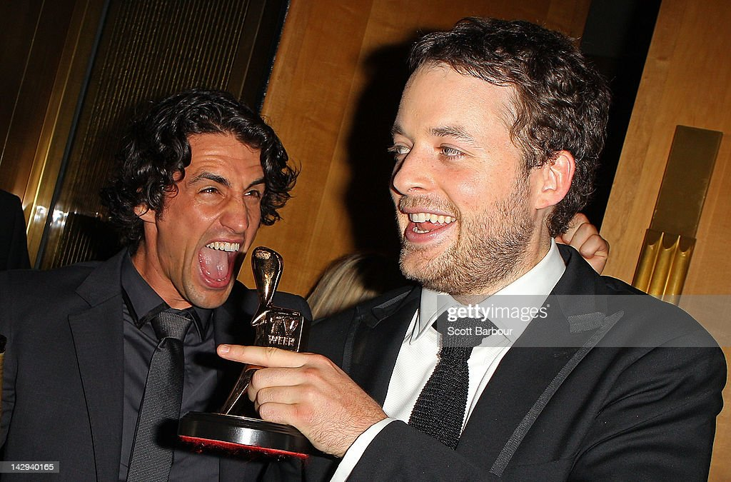 Hamish Blake (R) and Andy Lee celebrate after Blake won the Gold Logie at the 2012 Logie Awards at the Crown Palladium on April 15, 2012 in Melbourne, Australia.