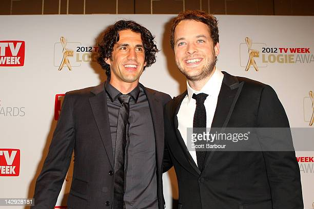 Hamish Blake and Andy Lee pose after winning the Logie for Most Popular Light Entertainment Program for 'Hamish Andy's Gap Year' at the 2012 Logie...