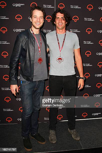 Hamish Blake and Andy Lee pose as they arrive at a party to celebrate the Mushroom Group's 40th anniversary at Thousand Pound Bend on February 5 2013...