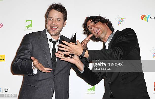 Hamish Blake and Andy Lee pose with the award for best comedy act at the 2011 ARIA Awards at Allphones Arena on November 27 2011 in Sydney Australia