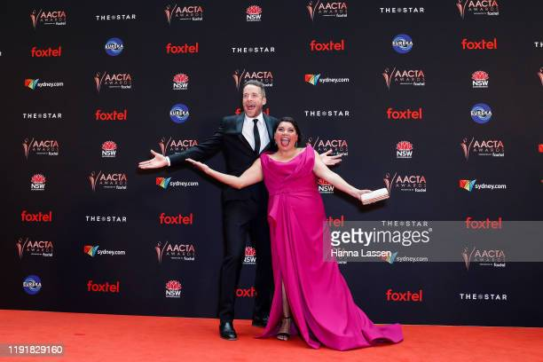 Hamish Blake and Deborah Mailman attend the 2019 AACTA Awards Presented by Foxtel at The Star on December 04 2019 in Sydney Australia