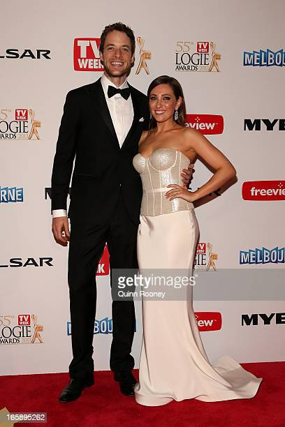 Hamish Blake and his wife Zoe Foster arrive at the 2013 Logie Awards at the Crown Palladium on April 7 2013 in Melbourne Australia