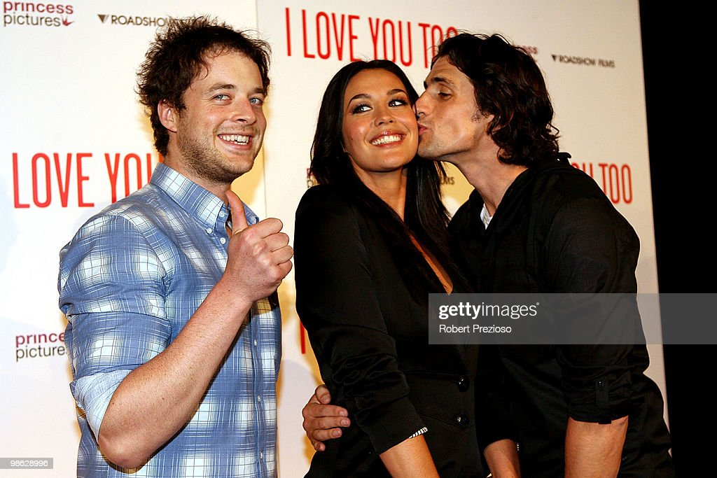Hamish Blake, Andy Lee and Megan Gale attend the premiere of 'I Love You Too' at Village Jam Factory on April 23, 2010 in Melbourne, Australia.