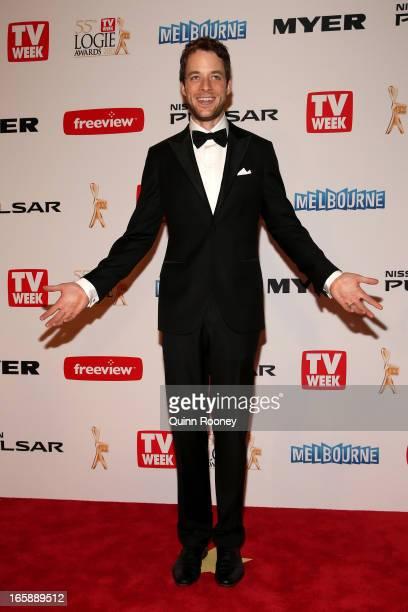 Hamish Blake arrives at the 2013 Logie Awards at the Crown Palladium on April 7 2013 in Melbourne Australia