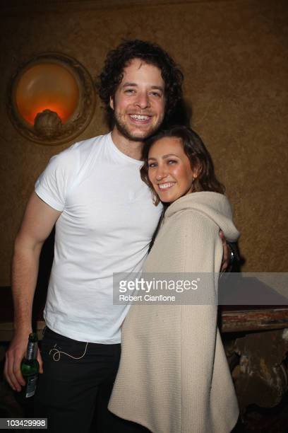 Hamish Blake poses with girlfriend Zoe Foster after the Frank Stallone concert at The Forum Theatre on August 18 2010 in Melbourne Australia Stallone...