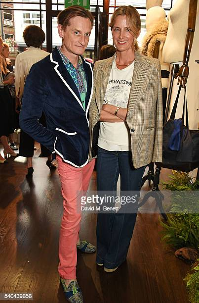 Hamish Bowles and Amanda Brooks attend the launch of Stella Tennant and Isabella Cawdor's collection for Holland Holland at their Bruton Street store...