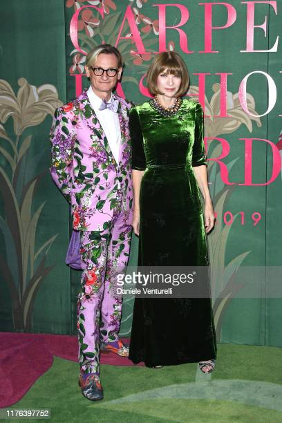 Hamish Bowles and Anna Wintour attend the Green Carpet Fashion Awards during the Milan Fashion Week Spring/Summer 2020 on September 22, 2019 in...