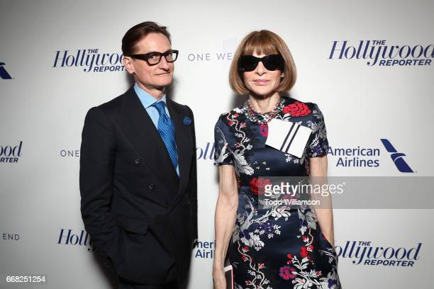 Hamish Bowles and Anna Wintour attend The Hollywood Reporter 35 Most Powerful People In Media 2017 at The Pool on April 13 2017 in New York City