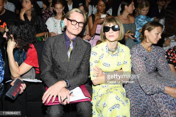 Hamish Bowles and Anna Wintour attend the Schiaparelli Haute Couture Fall/Winter 2019 2020 show as part of Paris Fashion Week on July 01, 2019 in...