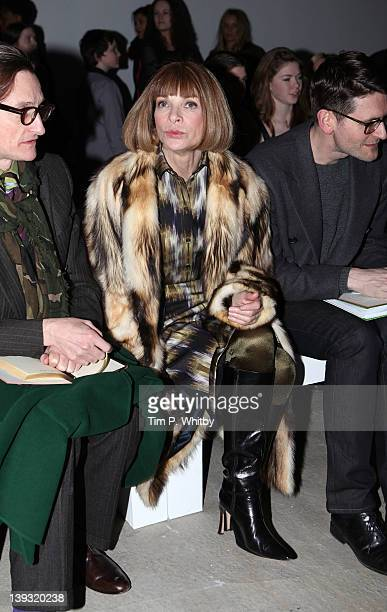 Hamish Bowles and Anna Wintour on the front row for Jonathan Saunders at London Fashion Week Autumn/Winter 2012 at Broadgate Tower on February 19...