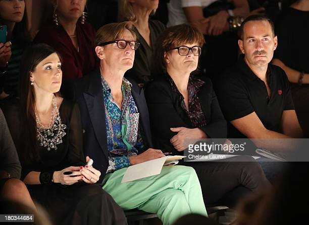 Hamish Bowles and Cathy Horyn attend the Bibhu Mohapatra fashion show during MercedesBenz Fashion Week Spring 2014 at The Studio at Lincoln Center on...