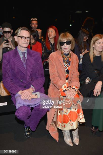 Hamish Bowles and Dame Anna Wintour attend the Alberta Ferretti show during Milan Fashion Week Fall/Winter 2020-2021 on February 19, 2020 in Milan,...