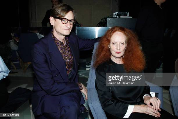 Hamish Bowles and Grace Coddington attend the Miu Miu Resort Collection 2015 at Palais d'Iena on July 5 2014 in Paris France
