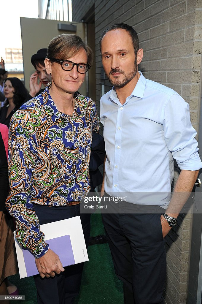 Hamish Bowles and Josep Font attend the Delpozo fashion show during Mercedes-Benz Fashion Week Spring 2014 at Pillars 38 on September 8, 2013 in New York City.