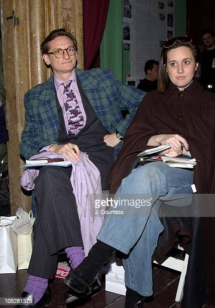 Hamish Bowles and Laird Borrelli during Olympus Fashion Week Fall 2004 Sebastian Pons Front Row at Angel Orensanz Foundation in New York City New...