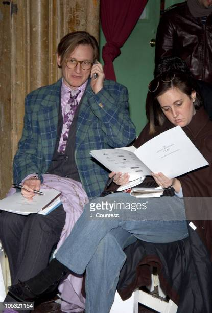 Hamish Bowles and Laird Borrelli during Olympus Fashion Week Fall 2004 - Sebastian Pons - Front Row at Angel Orensanz Foundation in New York City,...