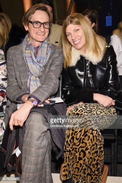 Hamish Bowles and Virginia Smith attend the Oscar De La Renta fashion show during New York Fashion Week The Shows at The Cunard Building on February...