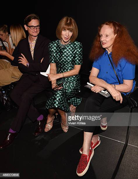 Hamish Bowles Anna Wintour and Grace Coddington attend Vera Wang Spring 2016 during New York Fashion Week at Cedar Lake on September 15 2015 in New...
