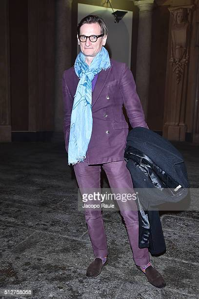 Hamish Bowles attends Vogue Cocktail Party honoring photographer Mario Testino on February 27 2016 in Milan Italy