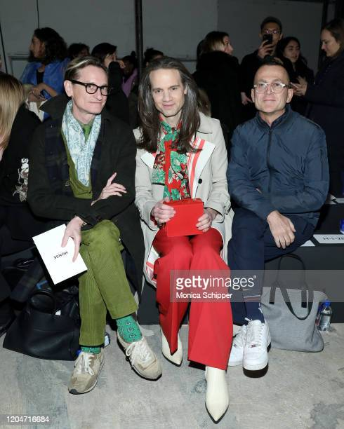 Hamish Bowles Jordan Roth and Steven Kolb sit front row at the Monse fashion show during February 2020 New York Fashion Week The Shows on February 07...