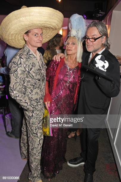 Hamish Bowles Virginia Bates and David Downton attend Stephen Jones 100th Birthday gala dinner celebrating his 60th birthday and 40 years in...