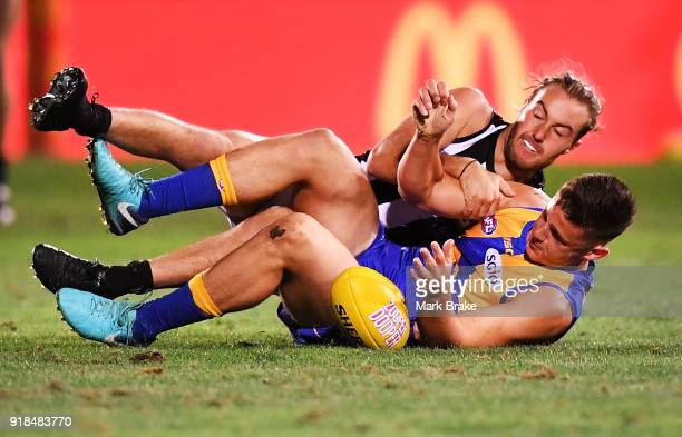 Hamish Brayshaw of West Coast tackled by Tim Broomhead of Collingwood during the AFLX match between Collingwood and West Coast at Hindmarsh Stadium...