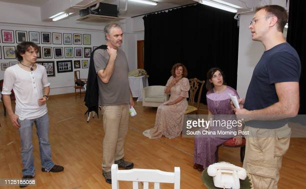 Hamish Campbell Barry O'Rorke Jacqueline Gourlay Grant Alice Bretton and Nick Deal rehearsing for the Hong Kong Players' forthcoming production An...