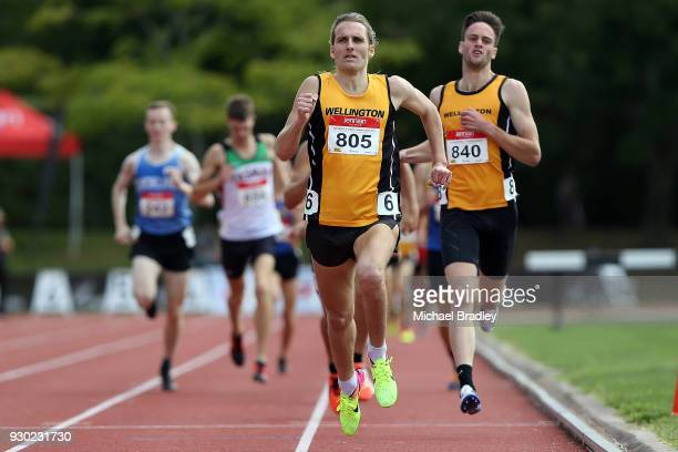 Hamish Carson from Wellington crosses the line first in the Mens 1500 metre final during the New Zealand Track Field Championships on March 11 2018...