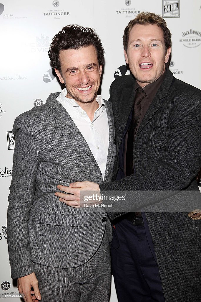 Hamish Jenkinson (L) and Nick Moran attend an after party celebrating the 24 Hour Musicals Gala Performance at Vinopolis on December 9, 2012 in London, England.