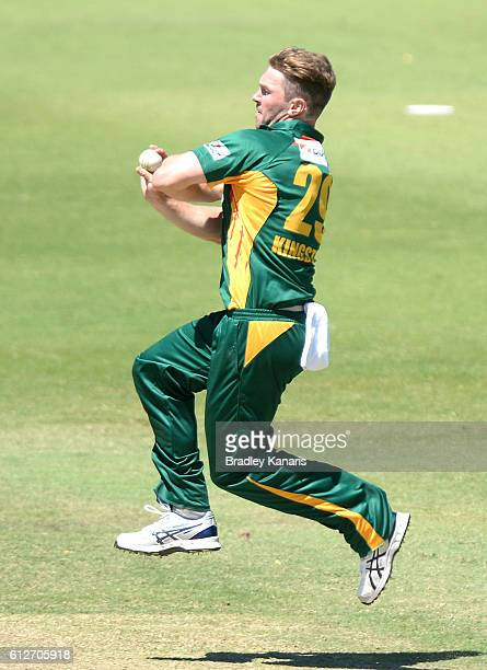 Hamish Kingston of Tasmania bowls during the Matador BBQs One Day Cup match between Tasmania and the Cricket Australia XI at Allan Border Field on...