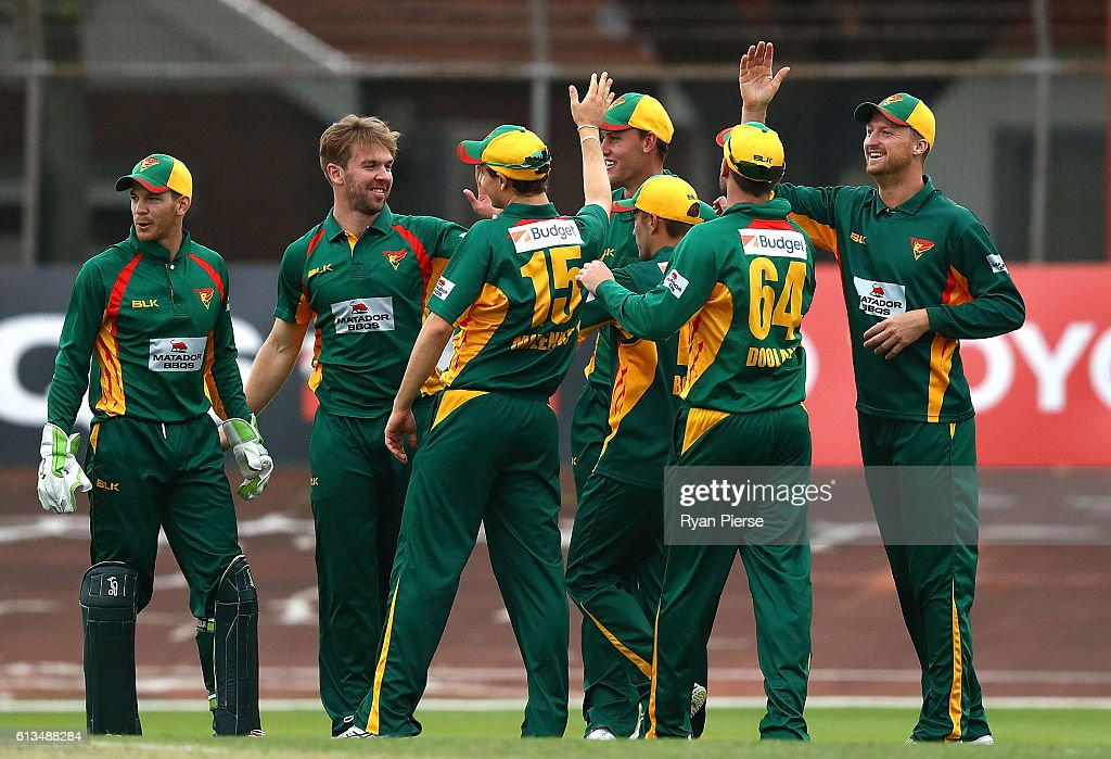 Hamish Kingston of the Tigers celebrates after taking the wicket of Gurinder Sandhu of the Blues during the Matador BBQs One Day Cup match between New South Wales and Tasmania at Hurstville Oval on October 9, 2016 in Sydney, Australia.