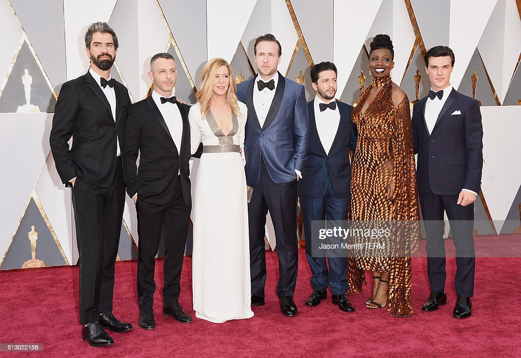 Hamish Linklater, Dede Gardner, Jeremy Kleiner, John Magaro, Effie Brown and Finn Wittrock attends the 88th Annual Academy Awards at Hollywood & Highland Center on February 28, 2016 in Hollywood, California.