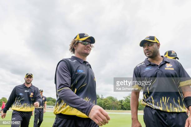 Hamish Marshall and Jeetan Patel of Wellington walk from the ground at the lunch break during the Ford Trophy match between Canterbury and Wellington...