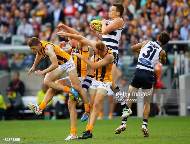 Hamish McIntosh of the Cats marks during the round five AFL match between the Geelong Cats and the Hawthorn Hawks at Melbourne Cricket Ground on...