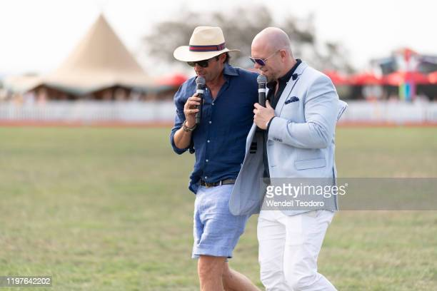 Hamish McLachlan and Mark Tindall attends the Magic Millions Polo on January 05, 2020 in Gold Coast, Australia.