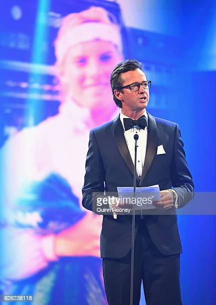 Hamish McLachlan pays tribute to Angie Cunnungham during the 2016 Newcombe Medal at Crown Palladium on November 28 2016 in Melbourne Australia