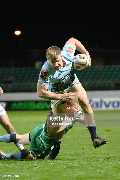 Hamish Northcott of Manawatu tackles Jack Goodhue of Northland during the round six Mitre 10 Cup match between Manawatu and Northland at Central...