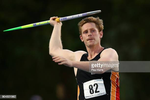 Hamish Peacock competes in the men's javelin during the Jandakot Airport Perth Track Classic at WA Athletics Stadium on January 13 2018 in Perth...
