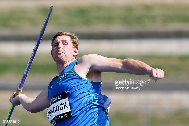 Hamish Peacock of Tasmania competes in the mens javelin during the Australian Athletics Championships at Sydney Olympic Park on April 3 2016 in...