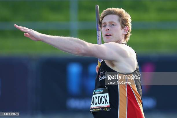Hamish Peacock of Tasmania competes in the mens open javelin throw qualification round during day six of the Australian Athletics Championships at...