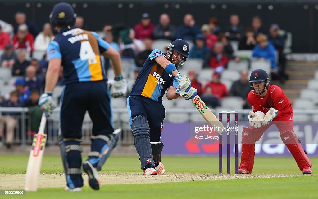 Hamish Rutherford of Derbyshire plays a shot during the NatWest T20 Blast between Lancashire and Derbyshire at Old Trafford on May 21, 2016 in Manchester, England.