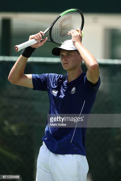 Hamish Stewart of Scotland reacts as he competes in the Boy's Singles gold medal tennis match between James Story of Wales and Hamish Stewart of...