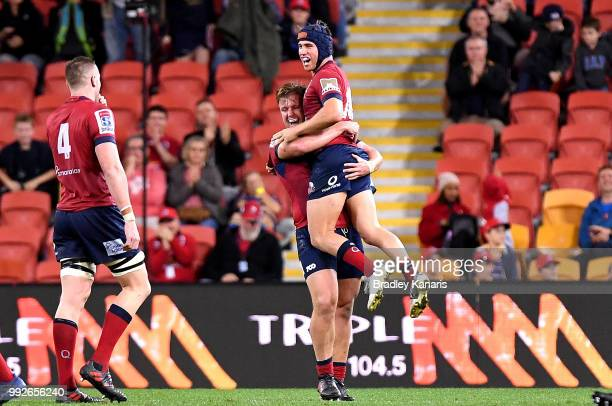 Hamish Stewart of the Reds celebrates victory after the round 18 Super Rugby match between the Reds and the Rebels at Suncorp Stadium on July 6 2018...