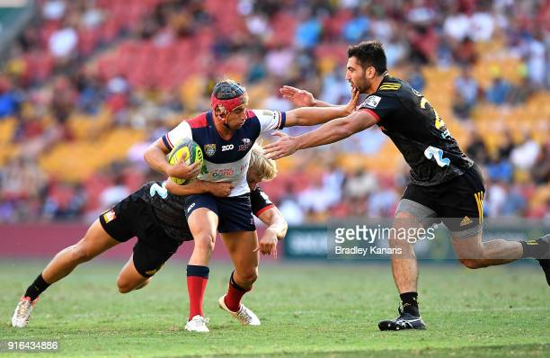 Hamish Stewart of the Reds takes on the defence during the 2018 Global Tens match between the Queensland Reds and the Chiefs at Suncorp Stadium on...