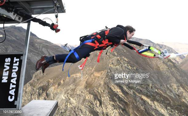 Hamish Walker, local Member of Parliament for Clutha-Southland experiences the world's first human catapult at the unveiling of the new Nevis...